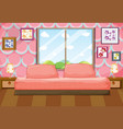 bedroom with pink furniture vector image vector image