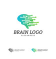 brain tech logo template tech brain mind logo vector image vector image