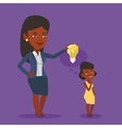 Business woman giving idea bulb to her partner vector image vector image