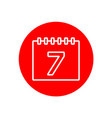 calendar date number 7 office outline red icon vector image