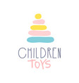 children toys logo colorful hand drawn vector image vector image