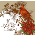 Christmas vintage floral greeting card vector image
