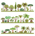 collection of tropical trees palms and other vector image vector image