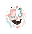 cute with mermaid and seahorse vector image vector image