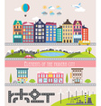 different city elements for creating your own map vector image vector image