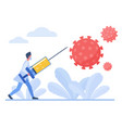 doctor struggling with coronavirus character flat vector image vector image