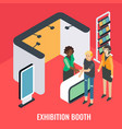exhibition booth stand isometric vector image vector image