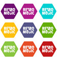 festival retro music icons set 9 vector image vector image