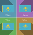 Flags Kazakhstan Set of colors flat design and vector image