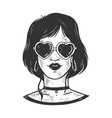 girl in sunglasses in form heart sketch vector image