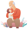 grandfather and baon white vector image vector image