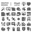 graphic design glyph icon set art tools symbols vector image vector image