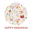 hanukkah holiday flat design icons set in round vector image vector image