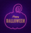 happy halloween bright signboard with pumpkin vector image
