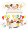 happy kids at birthday party set cute boys and vector image vector image