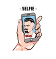 Hipster Taking Selfie Comic Template vector image