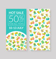 hot sale banner template 50 percent off for all vector image vector image