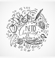 keto challenge food sketch - black vector image
