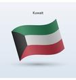 Kuwait flag waving form vector image vector image
