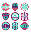 longboard surfing club vintage isolated label set vector image vector image
