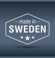 made in sweden hexagonal white vintage label vector image vector image
