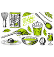 matcha green tea set organic powder bamboo whisk vector image vector image