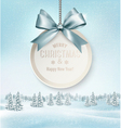 Merry Christmas card with a ribbon and winter vector image vector image