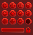 mobile red elements for ui game - a set play vector image vector image