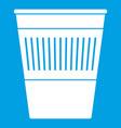plastic office waste bin icon white vector image vector image