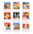 portraits happy people set photos romantic vector image