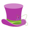purple wizards hat with green ribbon and sewing vector image vector image