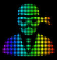 rainbow colored pixel masked thief icon vector image vector image