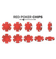 Red poker chips 3d realistic set plastic