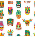 seamless pattern with wooden tiki colorful masks vector image