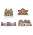 set isolated ukrainian famous landmarks in line vector image