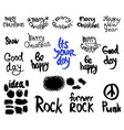 set of words and labels freehand drawing grunge vector image vector image
