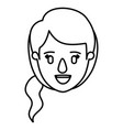 silhouette image caricature front view face woman vector image vector image
