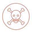 Skull and cross bones line icon vector image vector image