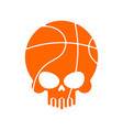skull basketball ball is head of skeleton emblem vector image