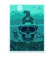 skull komodo dragon poster flyer vector image