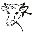 smiling cow portrait sketch vector image