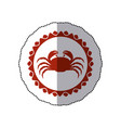sticker red stamp border with silhouette of crab vector image vector image