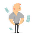successful man dollar bills fly around a person vector image