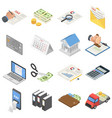 taxes accounting money icons set isometric style vector image