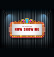 theater sign retro on curtain with spotlight vector image vector image