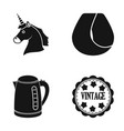 unicorn curl hair and other web icon in black vector image vector image