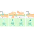 washing hands instruction flat bacground vector image