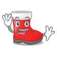 waving christmas santa boot isolated on mascot vector image