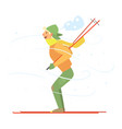 young boy skiing vector image vector image