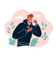young ill man coughing vector image vector image